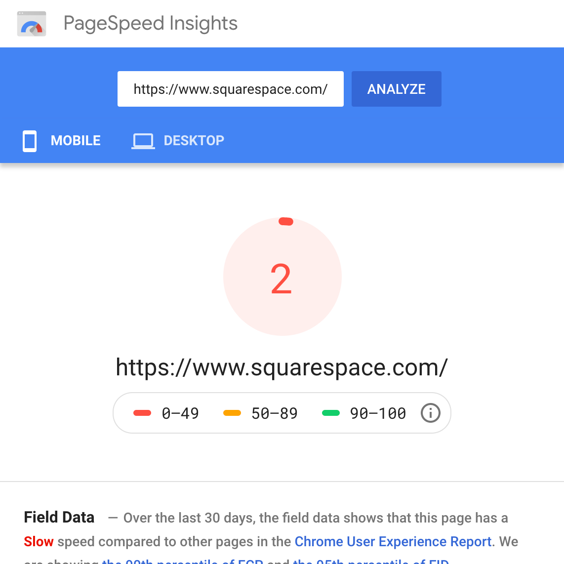 squarespace-google-pagespeed-insights